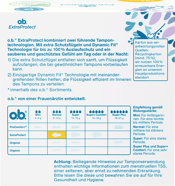 Rückseite der Verpackung des o.b.® ExtraProtect Normal Tampons mit 56 Stück
