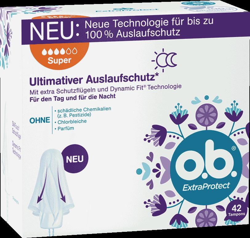 Vorderseite der Verpackung des o.b.® ExtraProtect Super Tampons mit 42 Stück
