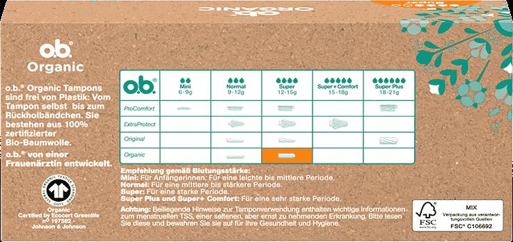 Rückseite der Verpackung des o.b.® Organic Super Tampons mit 16 Stück