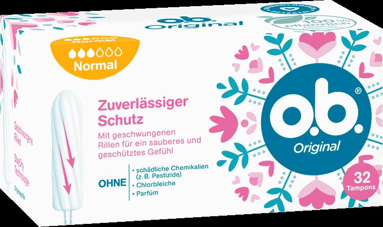 Vorderseite der Verpackung des o.b.® Original Normal Tampons mit 32 Stück