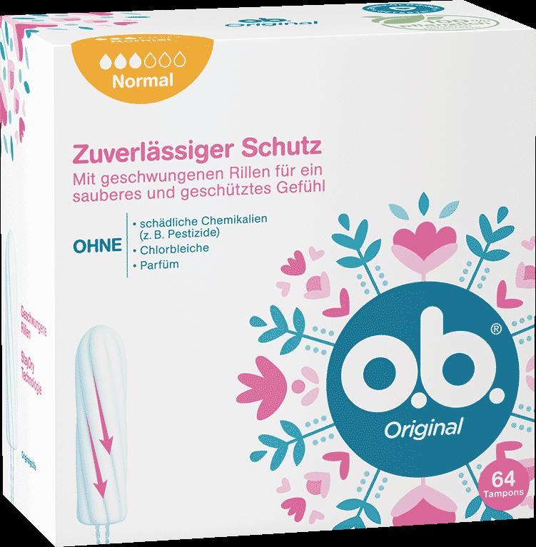 Vorderseite der Verpackung des o.b.® Original Normal Tampons mit 64 Stück