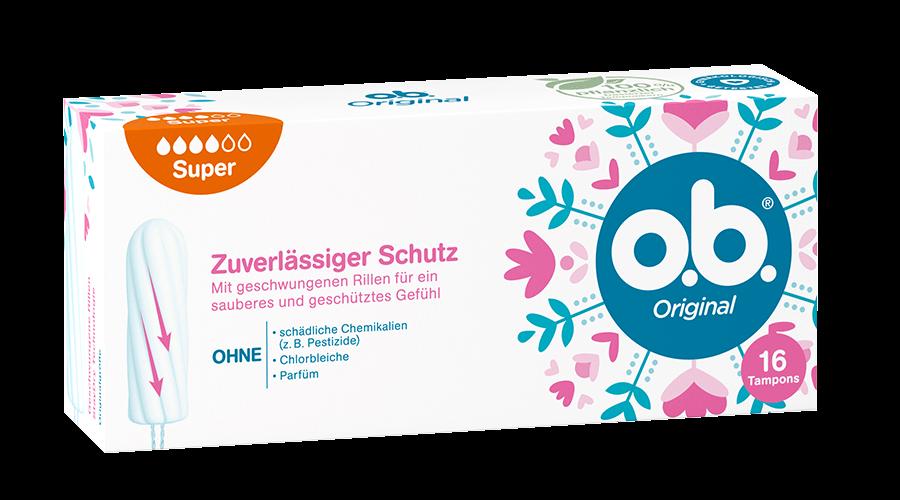 Vorderseite der Verpackung des o.b.® Original Super Tampons mit 16 Stück