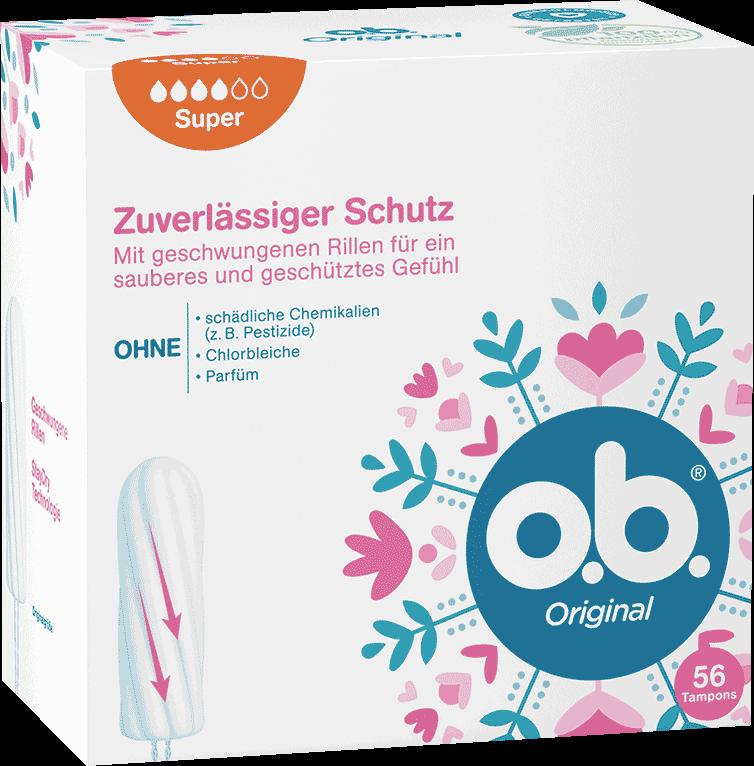 Vorderseite der Verpackung des o.b.® Original Super Tampons mit 56 Stück