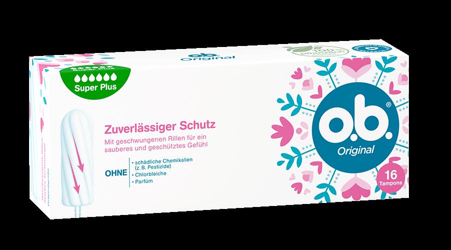 Vorderseite der Verpackung des o.b.® Original Super Plus Tampons mit 16 Stück