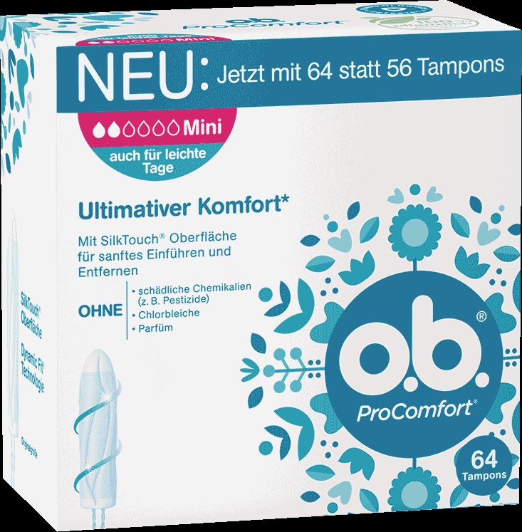 Vorderseite der Verpackung des o.b.® ProComfort Mini Tampons mit 64 Stück