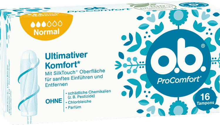 Vorderseite der Verpackung des o.b.® ProComfort Normal Tampons mit 16 Stück