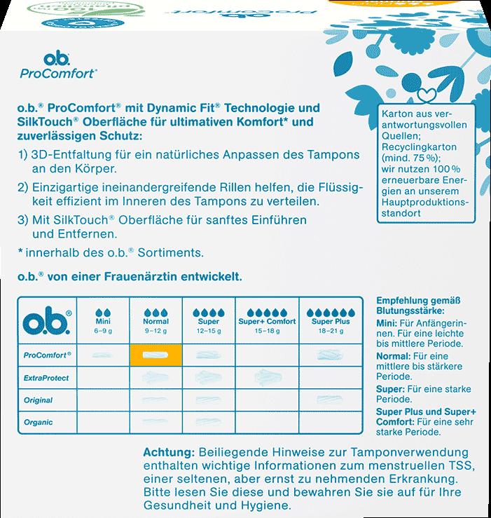 Rückseite der Verpackung des o.b.® ProComfort Normal Tampons mit 64 Stück