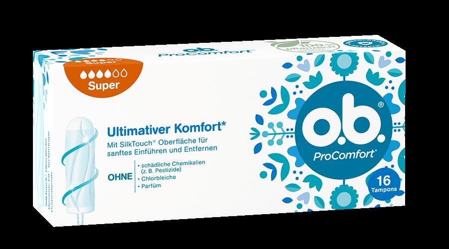 Vorderseite der Verpackung des o.b.® ProComfort Super Tampons mit 16 Stück