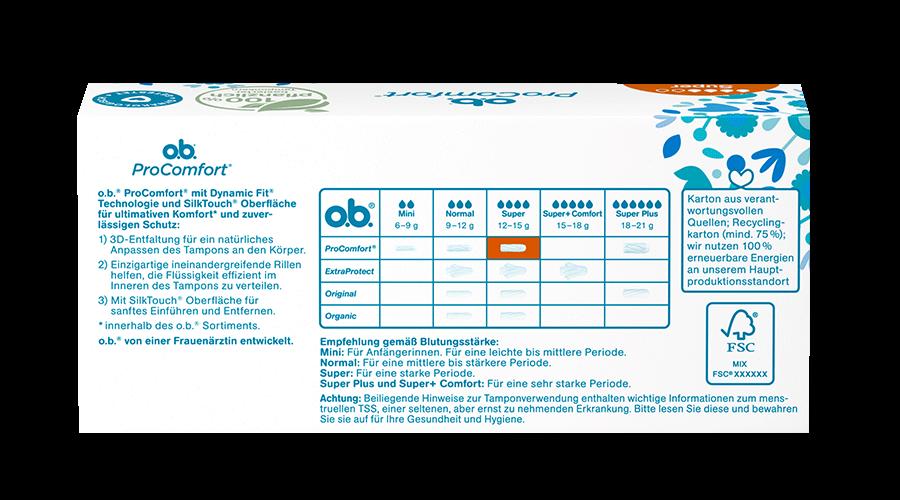 Rückseite der Verpackung des o.b.® ProComfort Super Tampons mit 16 Stück