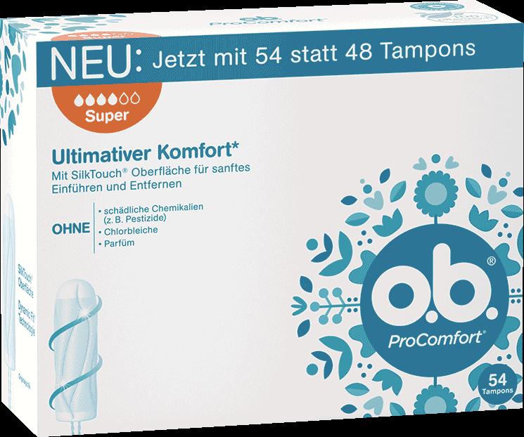 Vorderseite der Verpackung des o.b.® ProComfort Super Tampons mit 54 Stück