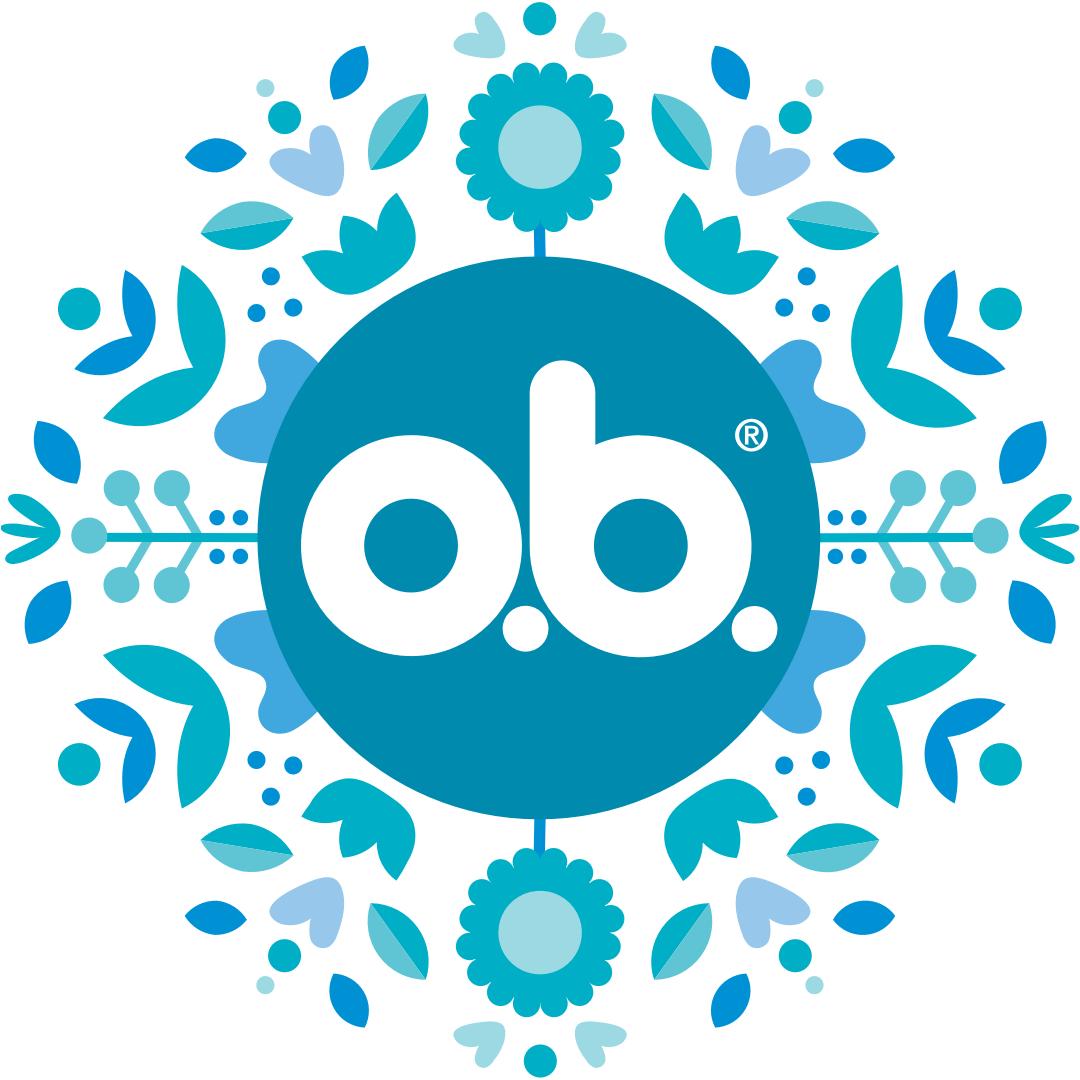 o.b.® Logo mit Blumendekoration als Grafik